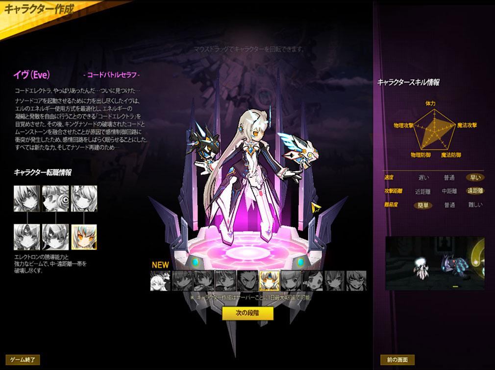 エルソード キャラクター選択画面