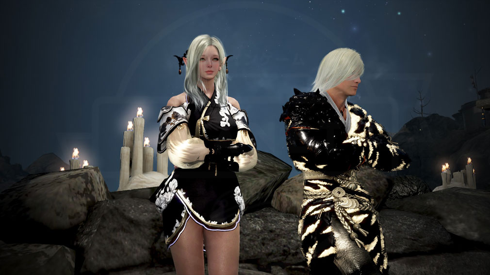 黒い砂漠 黒く染色使用した『白虎』アバター&『月香花』アバタースクリーンショット