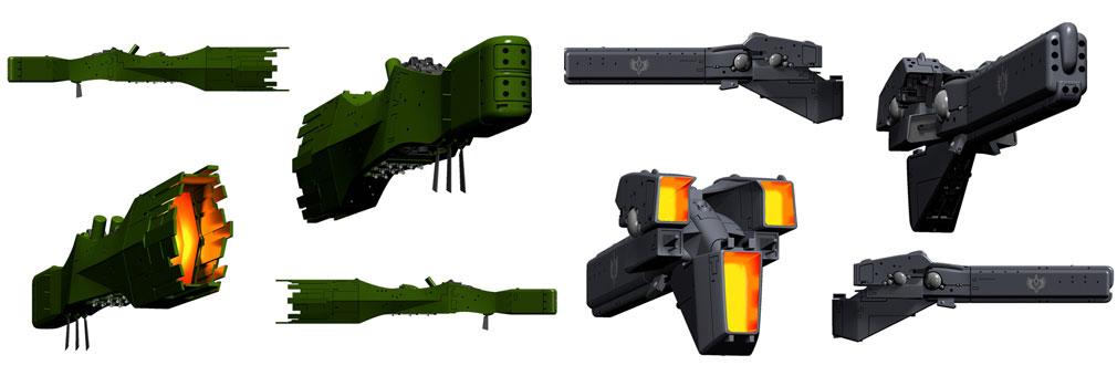 銀河英雄伝説タクティクス 標準型戦艦(4方向)ビジュアル:同盟側 標準型戦艦(左) 帝国側 標準型戦艦(右)
