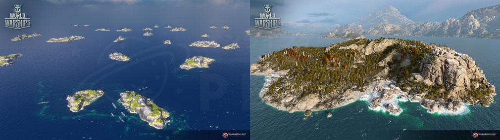 ワールドオブウォーシップス World of Warships (WoWs) シナリオモードに登場する小島や島スクリーンショット