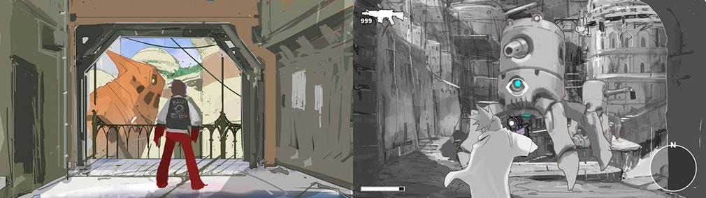 RED ASH 機鎧城カルカノンの魔女 イメージイラストとゲーム開発中の画像