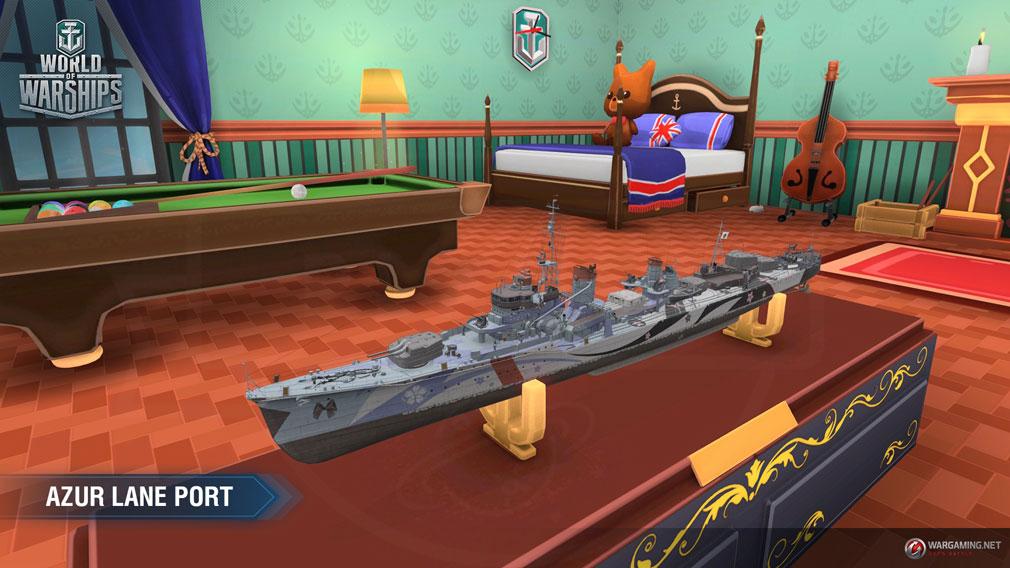ワールドオブウォーシップス World of Warships (WoWs) 『アズールレーン』ファンにはおなじみの寮舎を3D化したコラボレーション港スクリーンショット