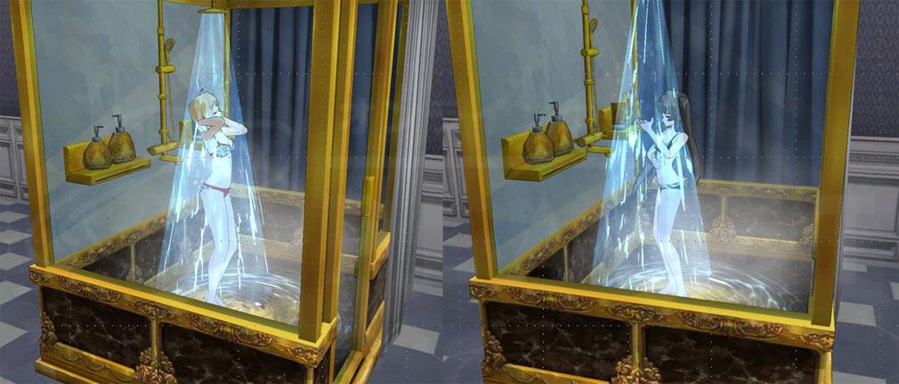 ソウルワーカー(Soulworker) マイルーム内のシャワーを浴びるスクリーンショット