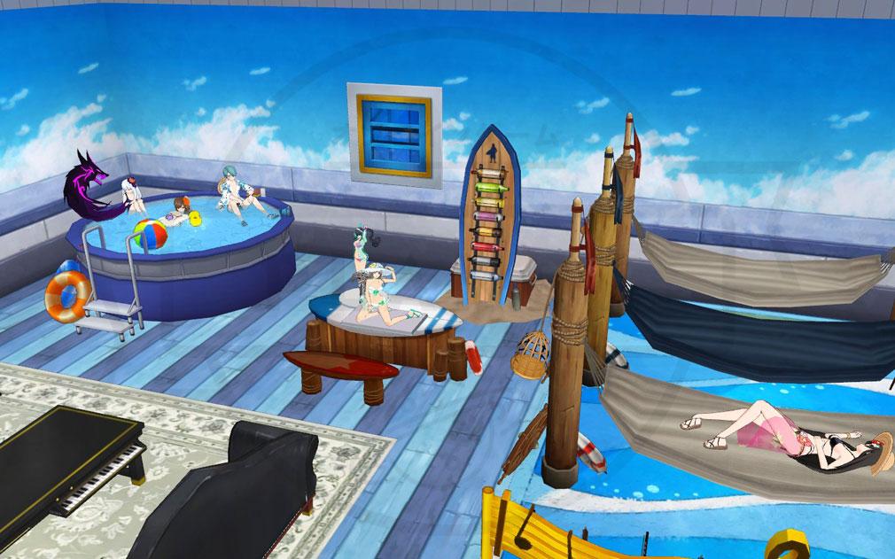 ソウルワーカー(Soulworker) マイルームにフィギュアを設置して夏仕様にしているスクリーンショット