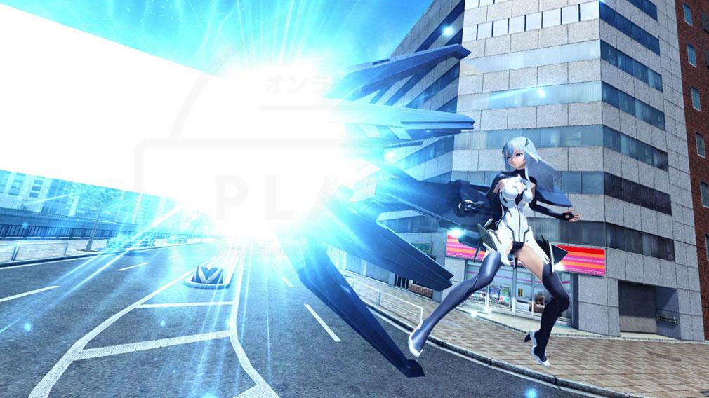 ファンタシースターオンライン2 PHANTASY STAR ONLINE2 (PSO2) TVアニメ『BEATLESS』レイシアのコラボアバターのバトルスクリーンショット