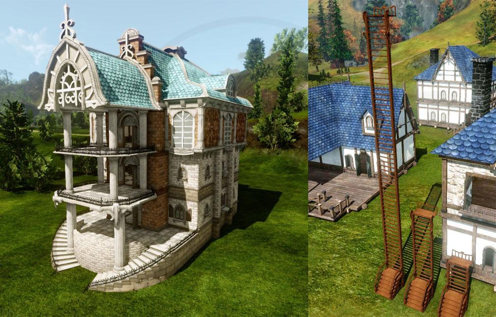 アーキエイジ(ArcheAge) ハウジング邸宅の新しいアップグレード『青屋根のヌイアテラス邸宅』、梯子スクリーンショット