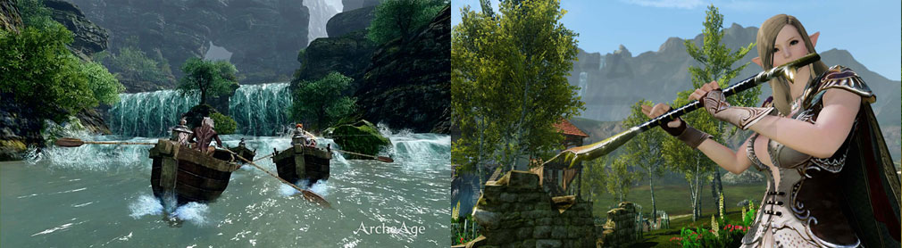 アーキエイジ(ArcheAge) カヌー、楽器演奏スクリーンショット