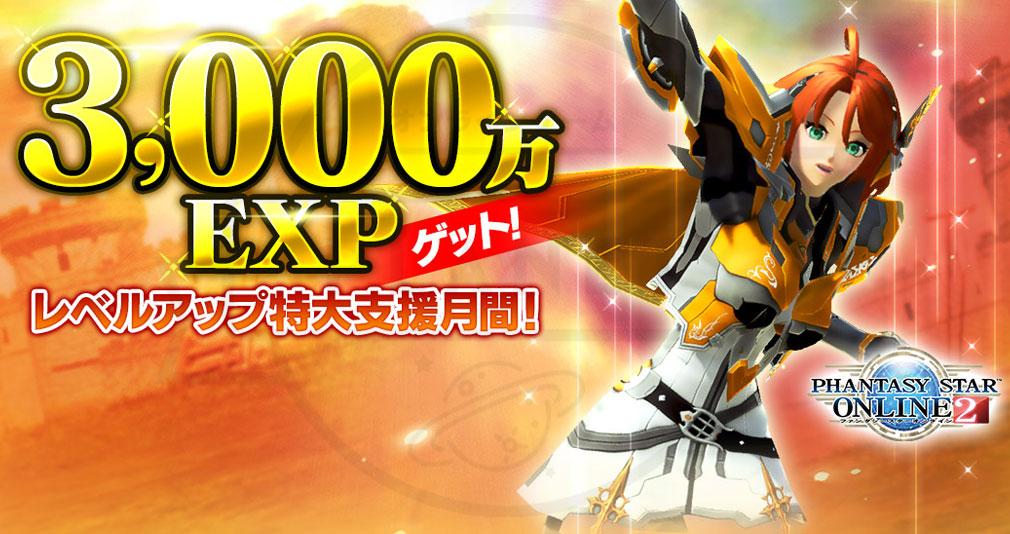 ファンタシースターオンライン2 PHANTASY STAR ONLINE2 (PSO2) 『3,000万EXPゲット!レベルアップ特大支援月間!』キャンペーンイメージ