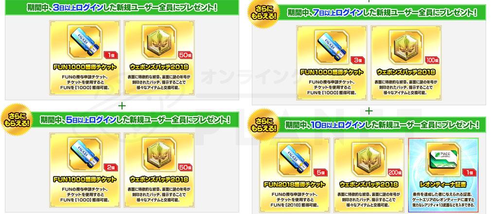 ファンタシースターオンライン2 PHANTASY STAR ONLINE2 (PSO2) 『新人アークス応援プレゼント』紹介イメージ
