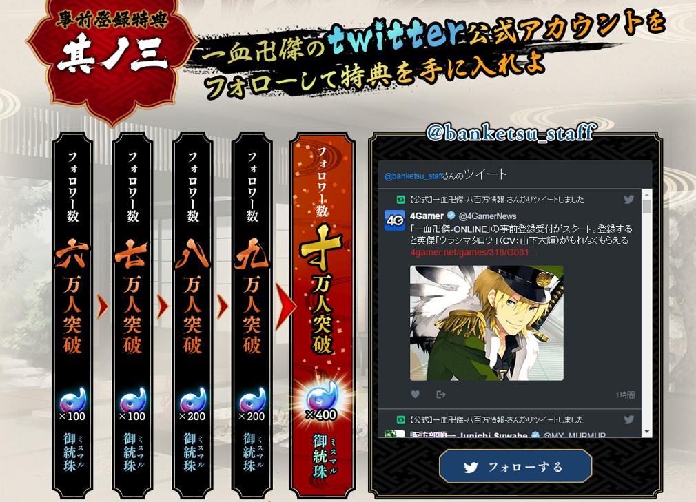 一血卍傑オンライン(イッチバンケツ) 事前登録特典3Twitterキャンペーン