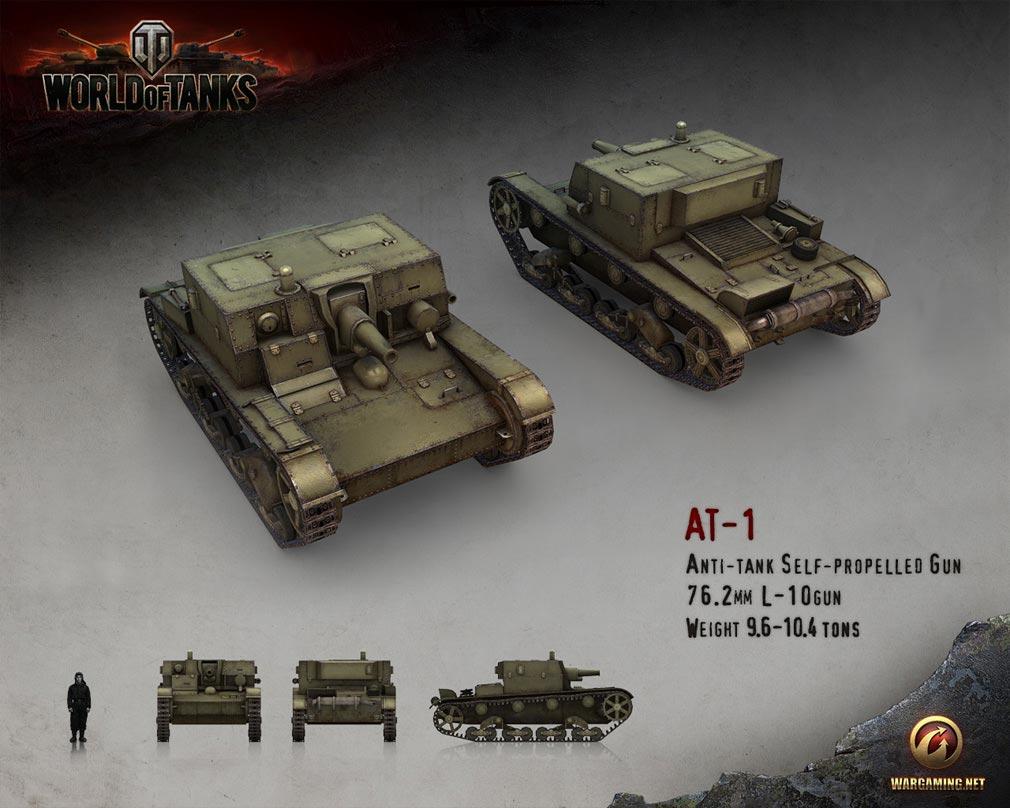 World of Tanks ワールドオブタンクス (WoT)  駆逐戦車 AT-1 ソビエト連邦 Tier 2