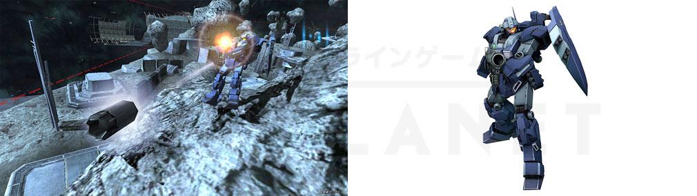機動戦士ガンダムオンライン(ガンオン) 地球連邦軍『ジェスタ シェザール隊仕様 C班装備』スクリーンショットと機体イメージ