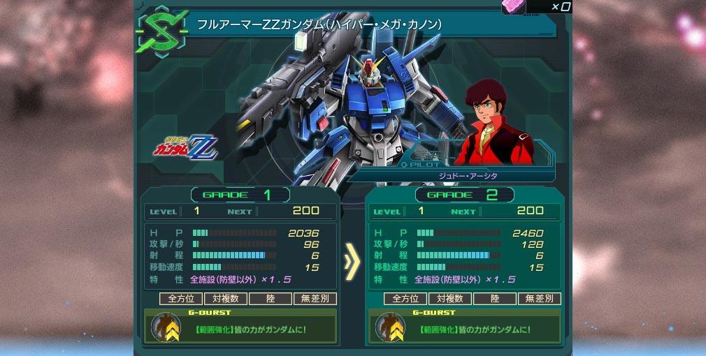 ガンダムジオラマフロント 2nd(ガンジオ) グレードアップ画面