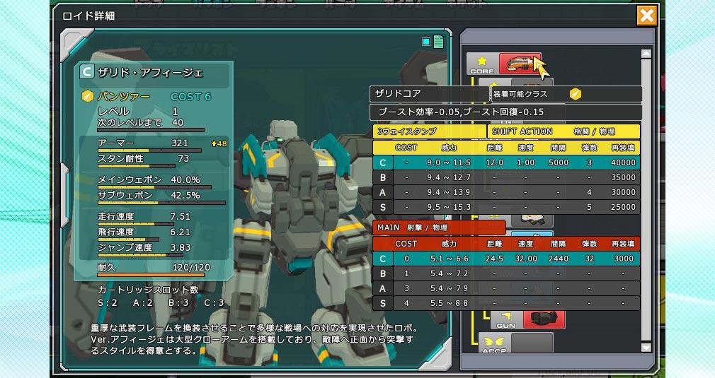 コズミックブレイク2(CB2) ロボットカスタマイズ画面