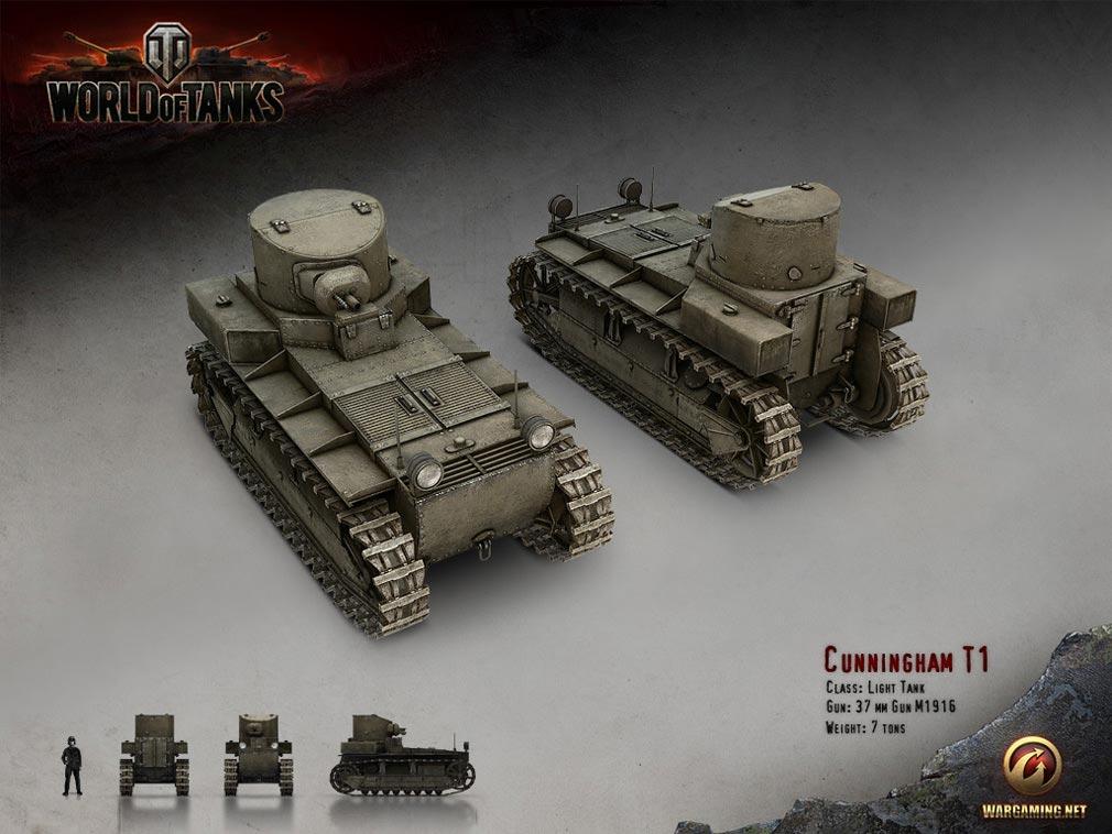 World of Tanks ワールドオブタンクス (WoT)  軽戦車 T1 Cunningham アメリカ Tier 1