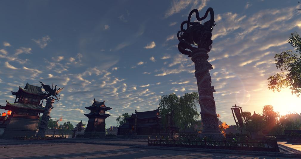 天涯明月刀online 左塔の上に聳える朱雀と右塔の上に聳える玄武スクリーンショット