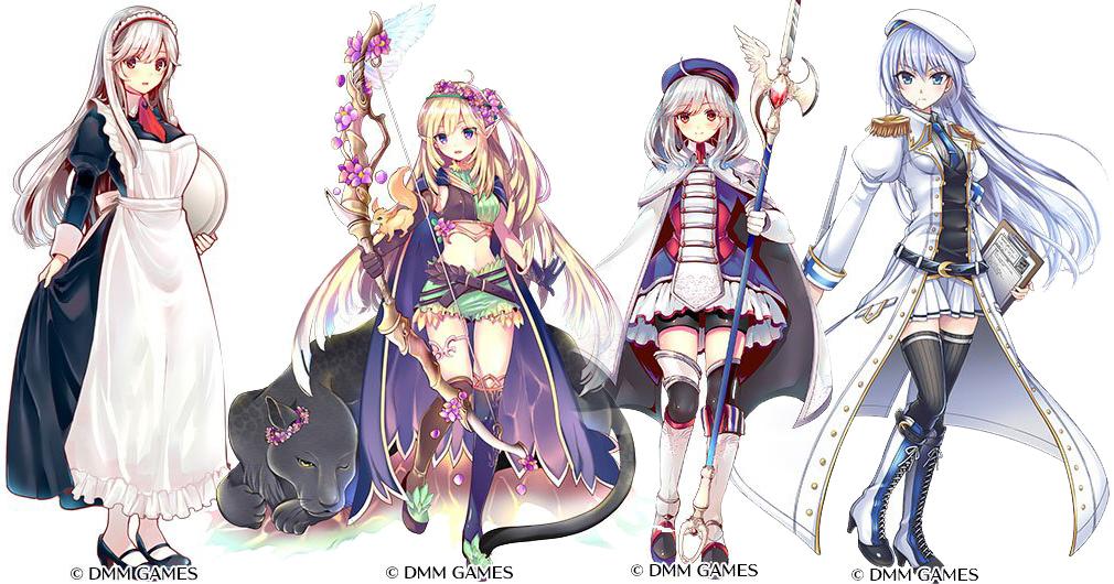 千年戦争アイギス アンナ(給仕服)、神森の守護妖精スプラ、近衛騎士アリシア、帝国治癒士エリアス
