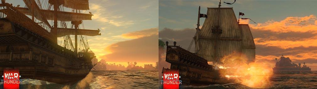 WarThunder(ウォーサンダー)WT 左:イギリス帆船、右:海上戦