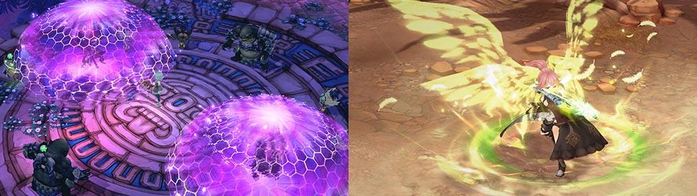 SEVENTH DARK(セブンスダーク) 左:TPS視点で見た派手なスキル魔法、右:弓を持ったキャラクターに羽が生える綺麗な攻撃スキル
