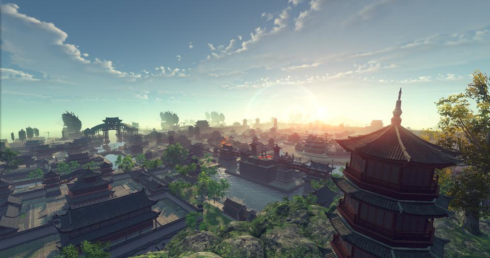 天涯明月刀online 杭州の朝焼け一望できるスクリーンショット