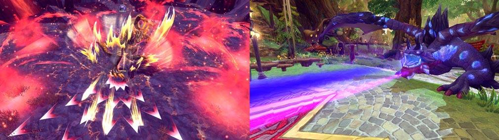 ハンターヒーロー(HUNTER HERO) 左:ボスの攻撃範囲表示、右:ボスの攻撃アクション