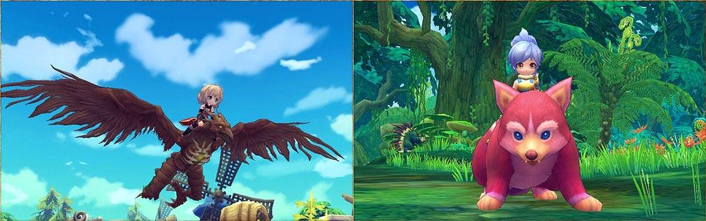 ハンターヒーロー(HUNTER HERO) 左:攻撃可能な飛行ペット、右:可愛い騎乗ペット