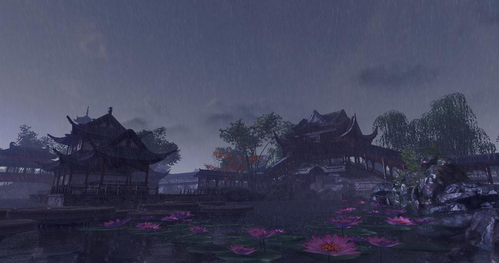 天涯明月刀online 優雅な庭園に急な豪雨が降るスクリーンショット