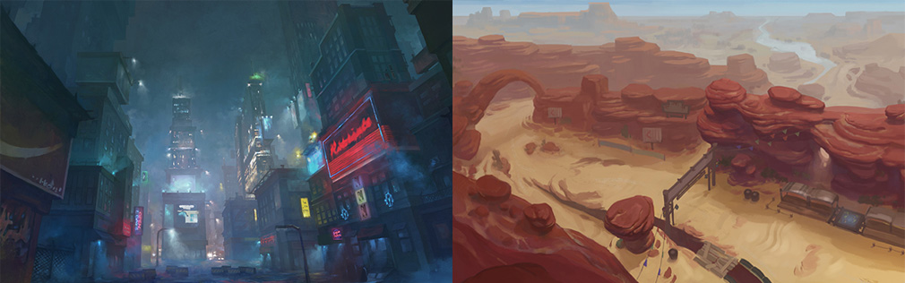 HeroWarz(ヒーローウォーズ) 左:ネオン街のようなフィールド、右:砂漠地帯になったフィールド