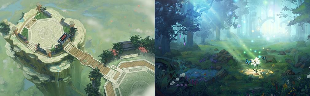 HeroWarz(ヒーローウォーズ) 左:断崖絶壁の闘技場のようなフィールド、右:自然が綺麗な森のフィールド