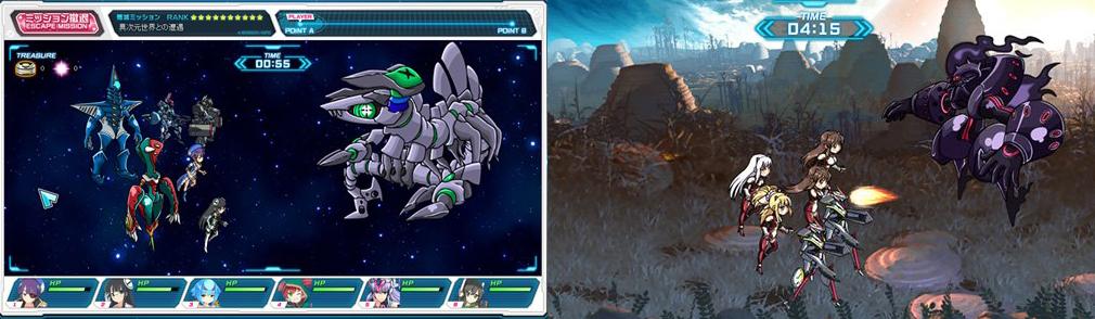 超銀河船団 左:ミッションバトル画面、右:一斉攻撃画面