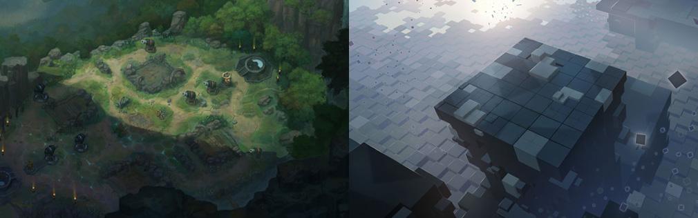 HeroWarz(ヒーローウォーズ) 左:MOBAのような対戦ができる森のフィールド、右:異次元空間のようなフィールド