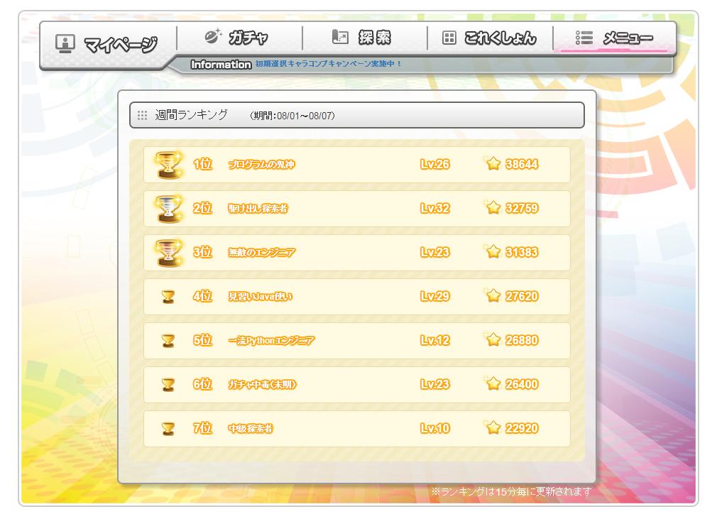 コードガールこれくしょん(ガルこれ) ランキング画面