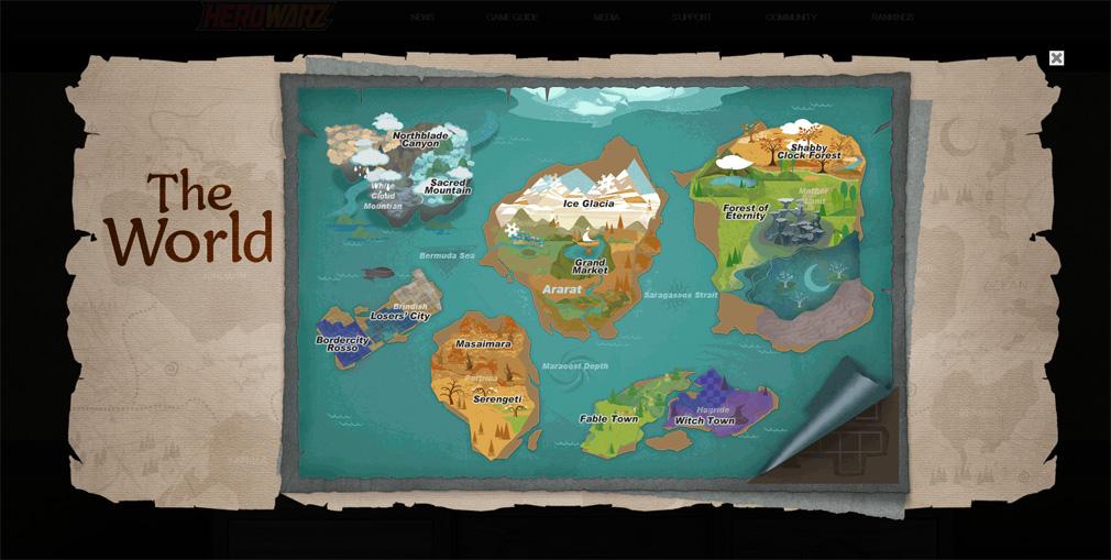 HeroWarz(ヒーローウォーズ) ワールドマップ