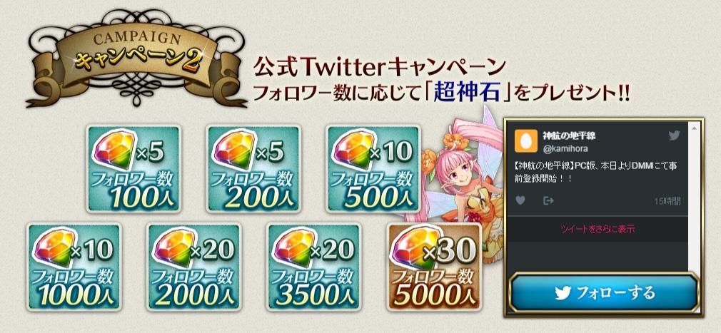 神航の地平線(ホライズン) 神ホラ 事前登録Twitterキャンペーン
