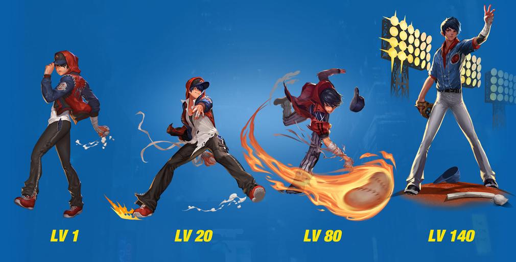 HeroWarz(ヒーローウォーズ) キャラクター『TOM』左からレベル1、レベル20、レベル80、レベル140
