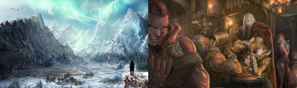 MU LEGEND(ミューレジェンド) 左:世界観原画イラスト、右:酒場でのキャラクターイメージイラスト