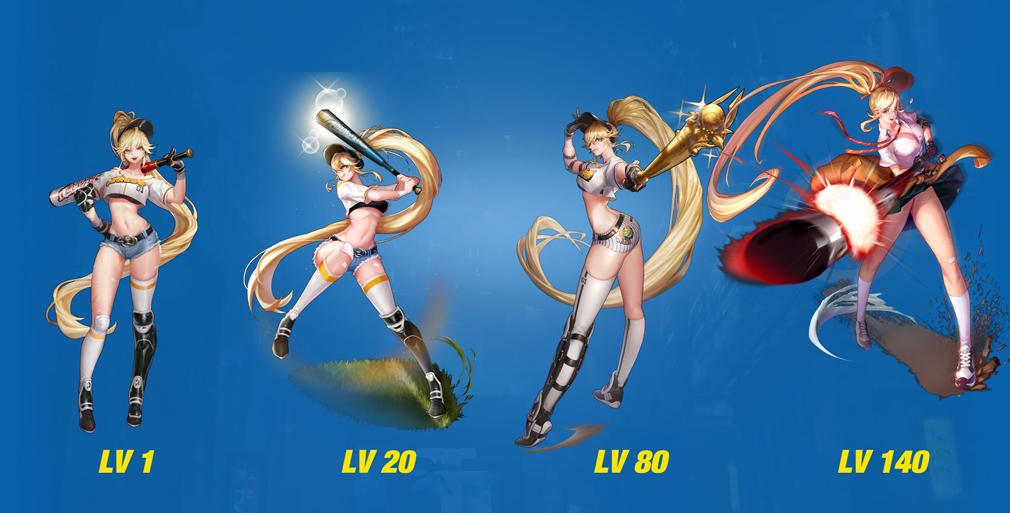 HeroWarz(ヒーローウォーズ) キャラクター『JERRY』左からレベル1、レベル20、レベル80、レベル140
