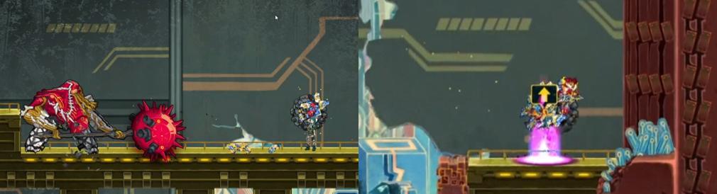 GIGA WRECKER(ギガレッカー) 左:ロボットボスバトル、右:ギミック