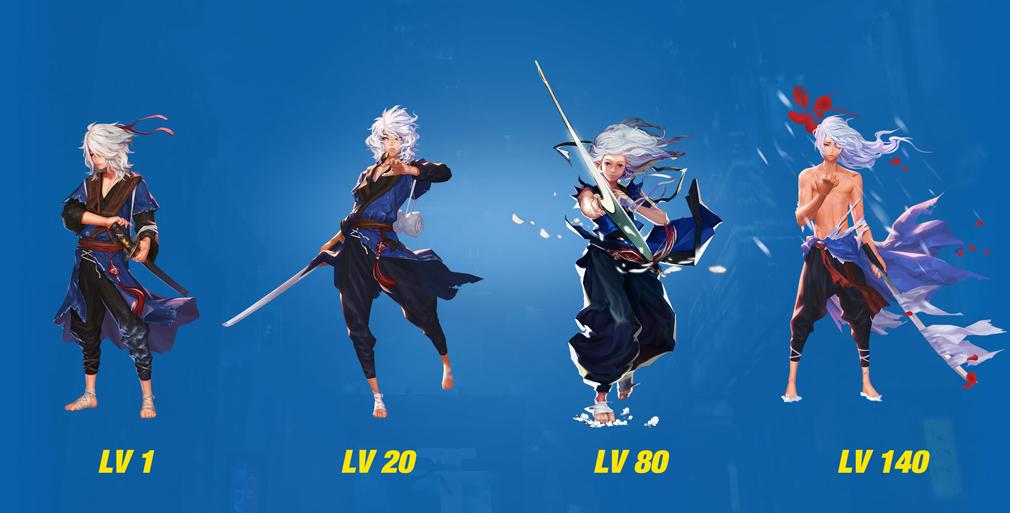 HeroWarz(ヒーローウォーズ) キャラクター『NAGARE』左からレベル1、レベル20、レベル80、レベル140