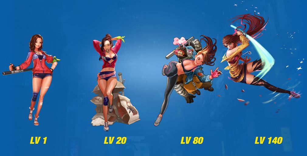 HeroWarz(ヒーローウォーズ) キャラクター『MARI』左からレベル1、レベル20、レベル80、レベル140