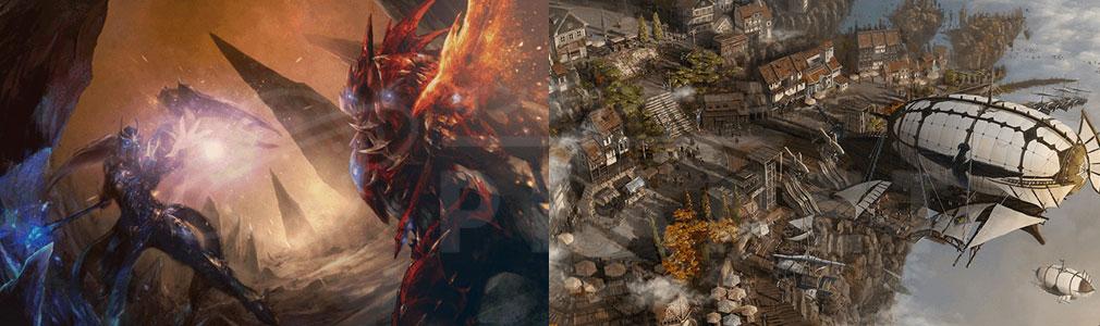 MU LEGEND(ミューレジェンド)日本 左:魔王KUNDUN対主人公イメージ、右:ゲーム内の街スクリーンショット