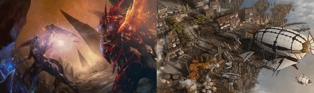 MU LEGEND(ミューレジェンド) 左:魔王KUNDUN対主人公、右:ゲーム内の街
