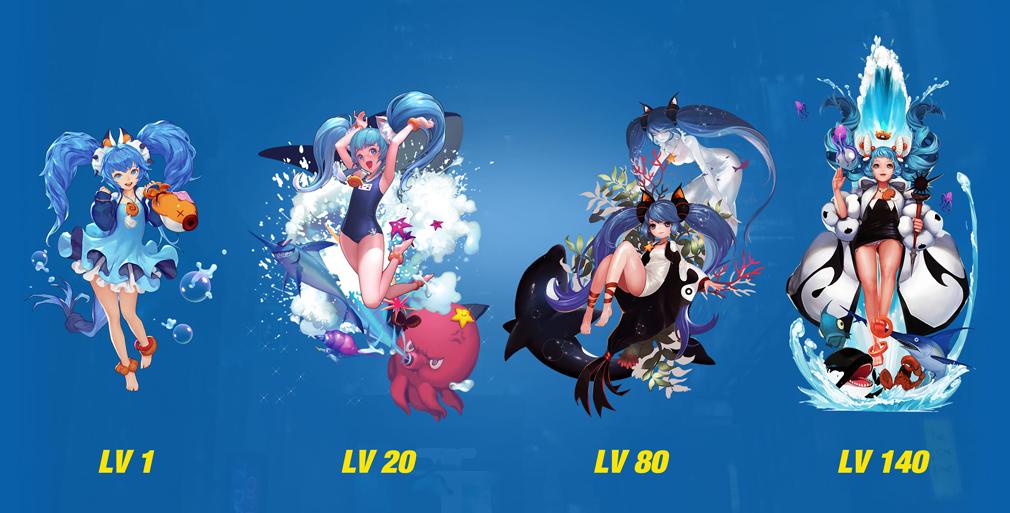 HeroWarz(ヒーローウォーズ) キャラクター『ARA』左からレベル1、レベル20、レベル80、レベル140
