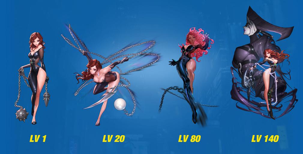 HeroWarz(ヒーローウォーズ) キャラクター『HADES』左からレベル1、レベル20、レベル80、レベル140