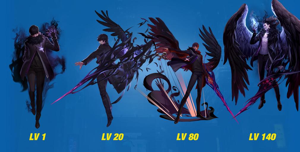 HeroWarz(ヒーローウォーズ) キャラクター『JACKDAW』左からレベル1、レベル20、レベル80、レベル140