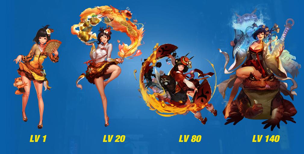 HeroWarz(ヒーローウォーズ) キャラクター『HWARAN』左からレベル1、レベル20、レベル80、レベル140