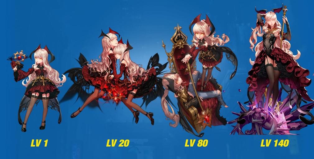 HeroWarz(ヒーローウォーズ) キャラクター『IZANAMI』左からレベル1、レベル20、レベル80、レベル140