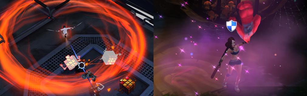 HeroWarz(ヒーローウォーズ) 左:キャラクター【B】のスキル画像、右:キャラクター【マリ】のスキル画像