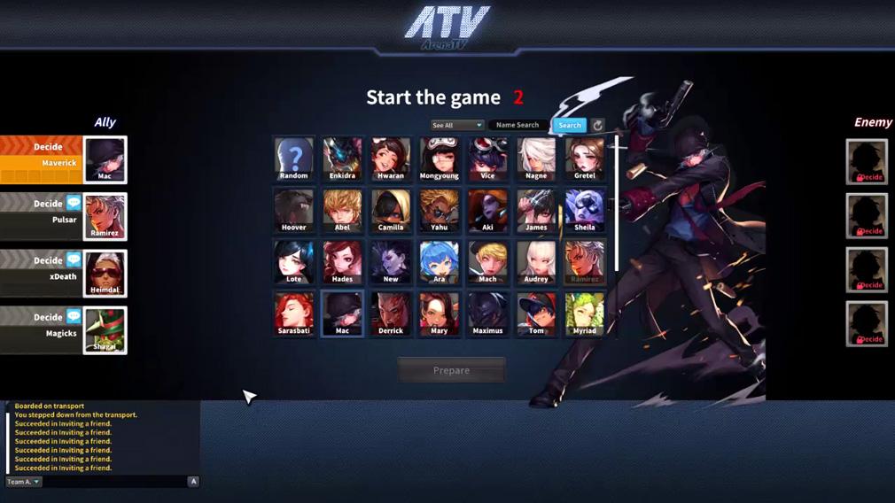 HeroWarz(ヒーローウォーズ) 【PvPモード】キャラクター選択画面