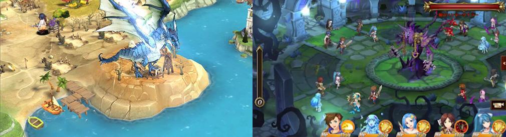 神航の地平線(ホライズン) 神ホラ 左:マップ上でのボス表示、右:マルチプレイでのボス討伐
